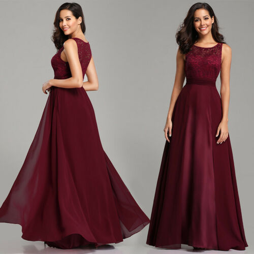 Ever-Pretty Long Burgundy Bridesmaid Dresses Sleeveless Party Formal Gown 07695