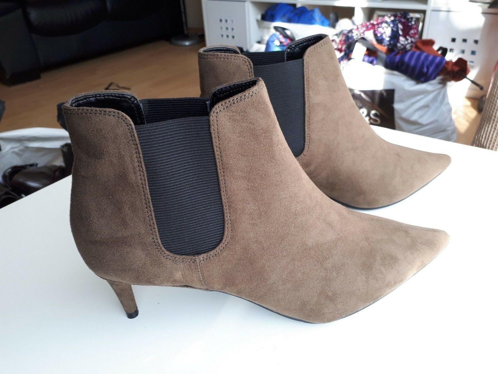 NEW MARKS AND SPENCER INSOLE KHAKI ANKLE BOOTS UK SIZE 8