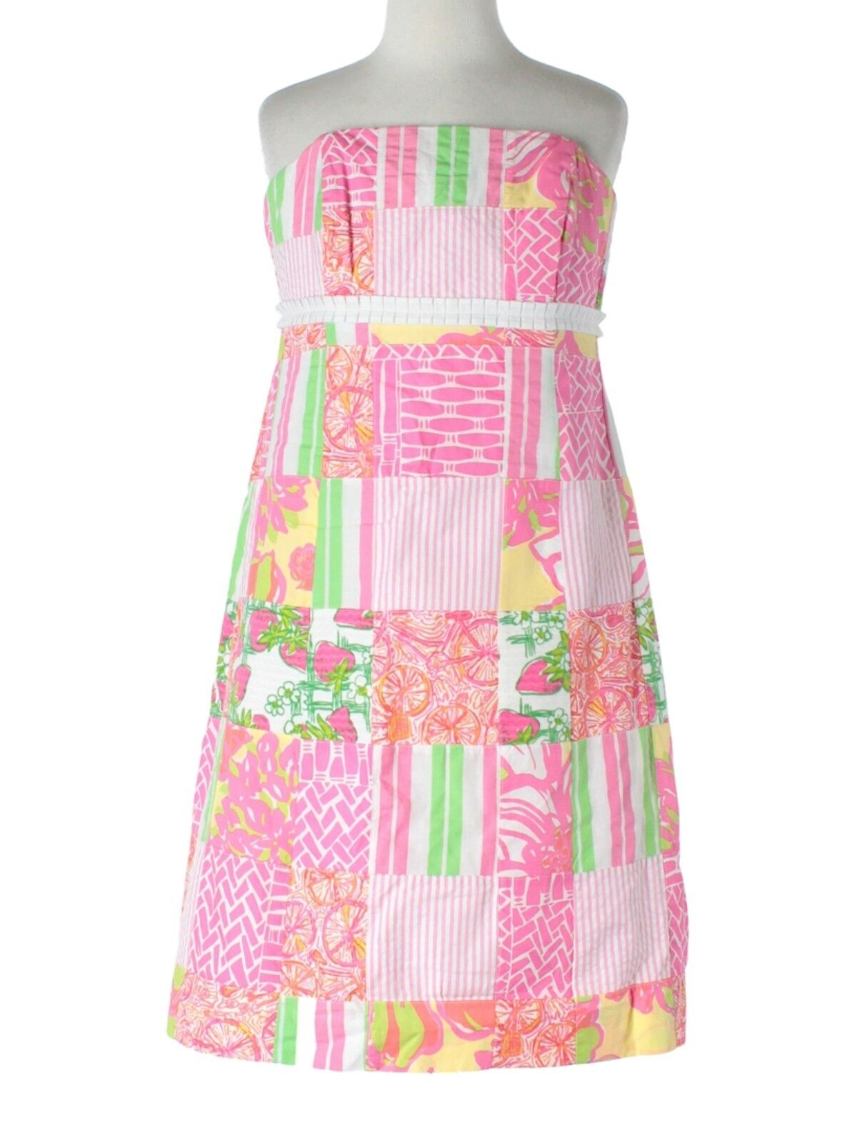 damen Lilly Pulitzer Local Patch Patchwork Bowen Strapless Dress Größe 2
