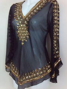 Femme Or Paillettes chemisier chemises noires