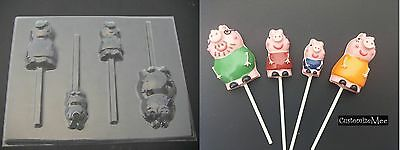 PEPPA PIG Family Mom Dad Brother Lollipop Chocolate Soap Candy Gummy Mold