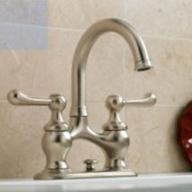 Merveilleux Kohler Lyntier R10331 2 Lever Handle Bathroom Sink Faucet Set Brushed Nickel