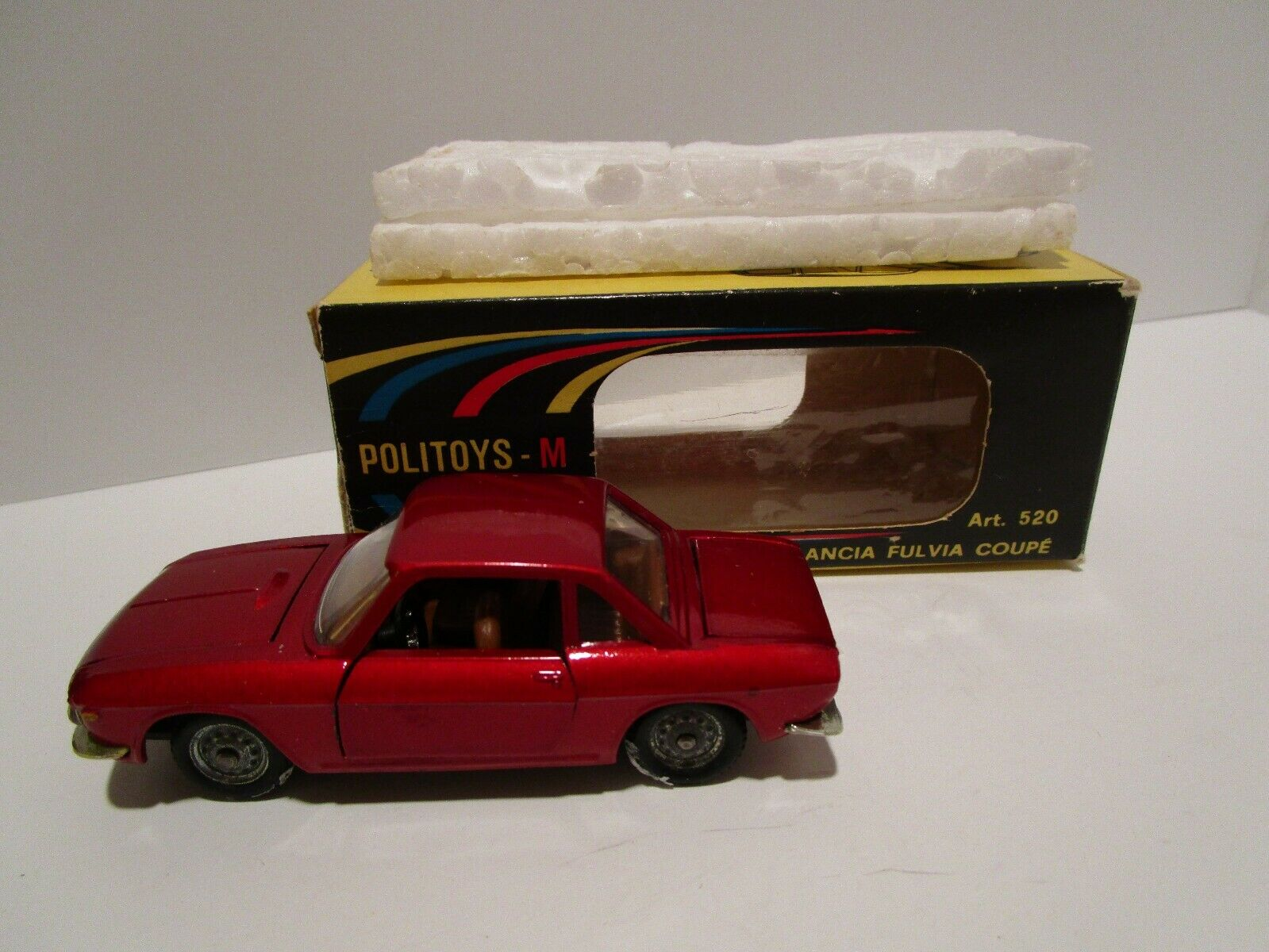 Vintage - 1 43 Politoys - Lancia Fulvia Coupe -  520 - Red - Box - Made in