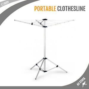 Image Is Loading NEW Clothes Rack Portable Camping ClotheslineTripod Umbrella Dryer