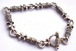 925-sterling-silber-fleur-de-lis-kette-armband-8-3-034-21cm-31g