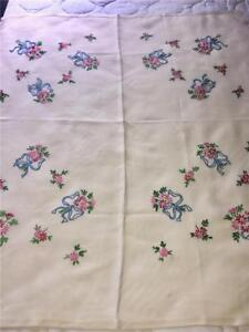 Image Is Loading Vintage Hand Embroidered Tablecloth 30 034 By 34