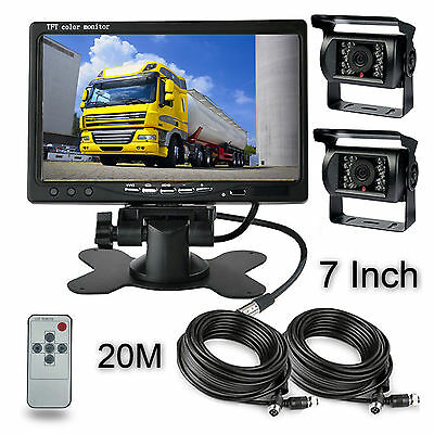 """2x Rear View Camera Night Vision System 66ft Cable Fr Rv Truck Bus Agreeable Sweetness Car Video Brilliant 7"""" Monitor"""