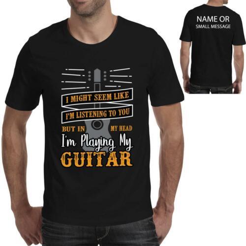 guitarist Vintage guitar Listening Mens Funny printed T-Shirt tee