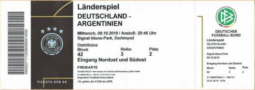 Used Sammler Ticket Freikarte Deutschland Argentinien Länderspiel 09.10.2019