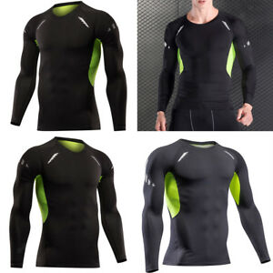 Men Compression Long Sleeve T Shirt Wicking Cool Dry Training Casual ... 694244f5c
