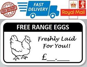 200 x Free Range Egg Box Stickers With Price Hen Labels Freshly Laid