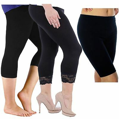 New Womens Black Stretchy Cycling Short, 3/4 Plain And Lace Trim Leggings 12-26 Schnelle WäRmeableitung