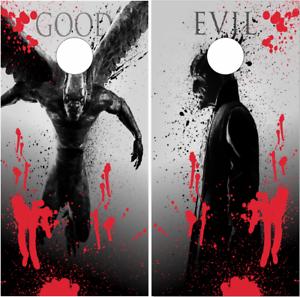 Good VS Evil Gargoyle LAMINATED Cornhole Wrap Bag Toss Skin Decal