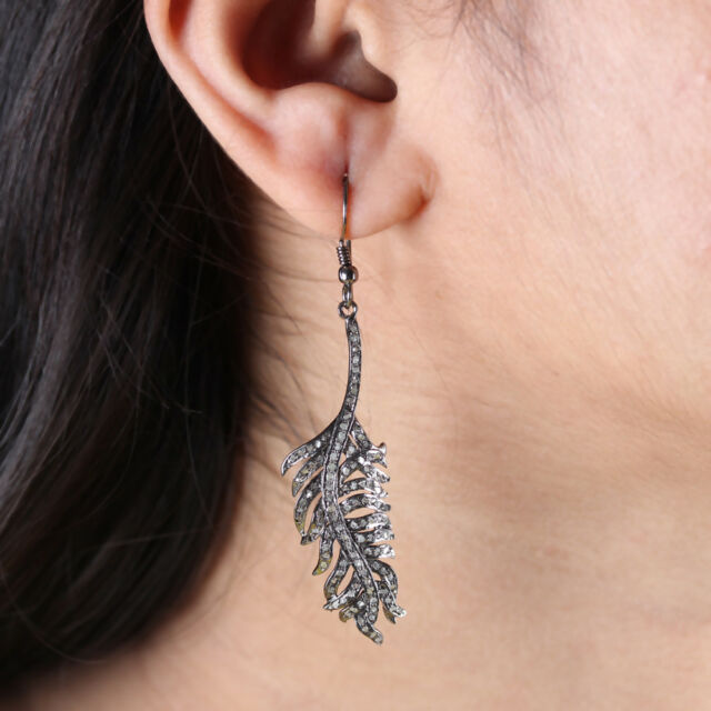 925 Sterling Silver Leaf Design Pave Diamond Dangle Earrings Vintage Jewelry NEW