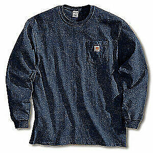 closer at detailed pictures purchase cheap Carhartt K126 NVY Long Sleeve Workwear Pocket T-shirt Navy Regular XL for  sale online | eBay
