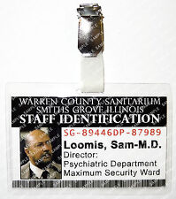 Halloween Sam Loomis M-D Staff ID Badge Michael Myers Cosplay Costume Comic Con