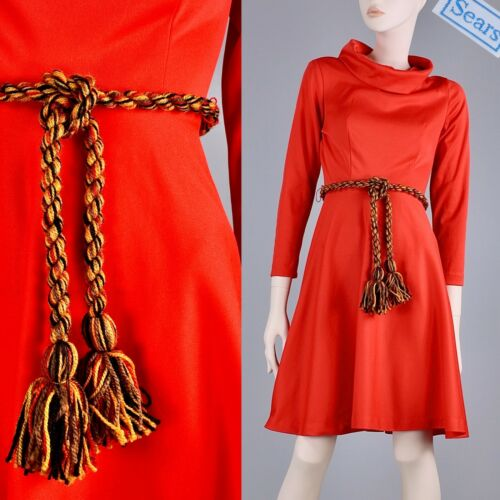 Bright Above Knee Length Fit Flare Vintage Red Belt Skirt Made in Canada With Pockets Fun Bright Classy Pinked Seams