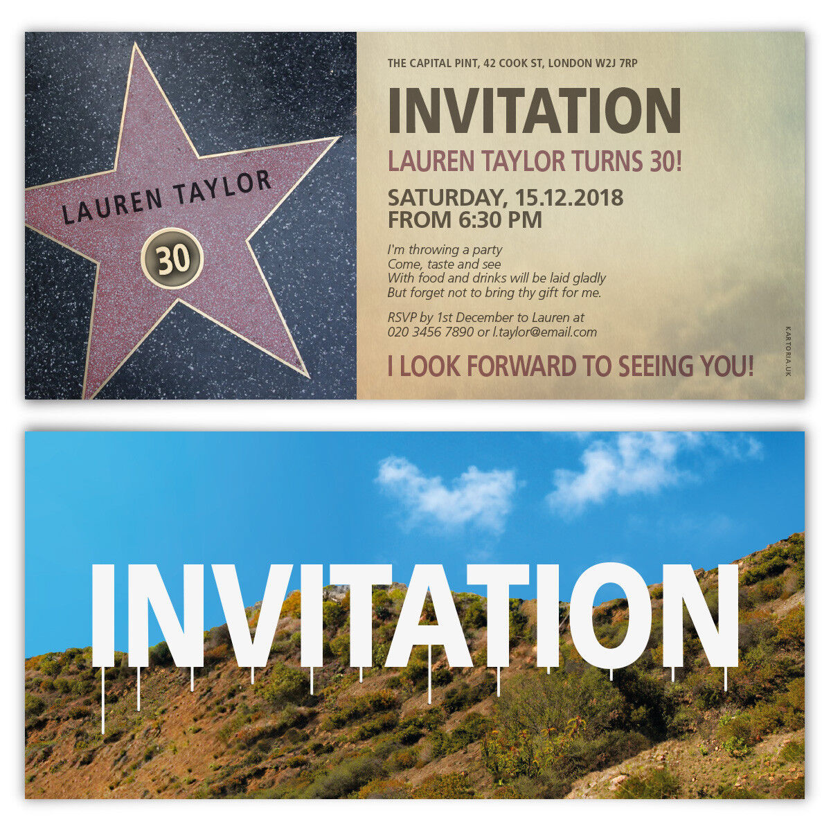 Birthday Invitation Cards Invites Personalised DL 210x99mm - Walk of Fame Star