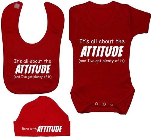 Attitude Babygrow Bodysuit Romper T-Shirt Feeding Bib /& Hat Cap Newborn-12M Gift
