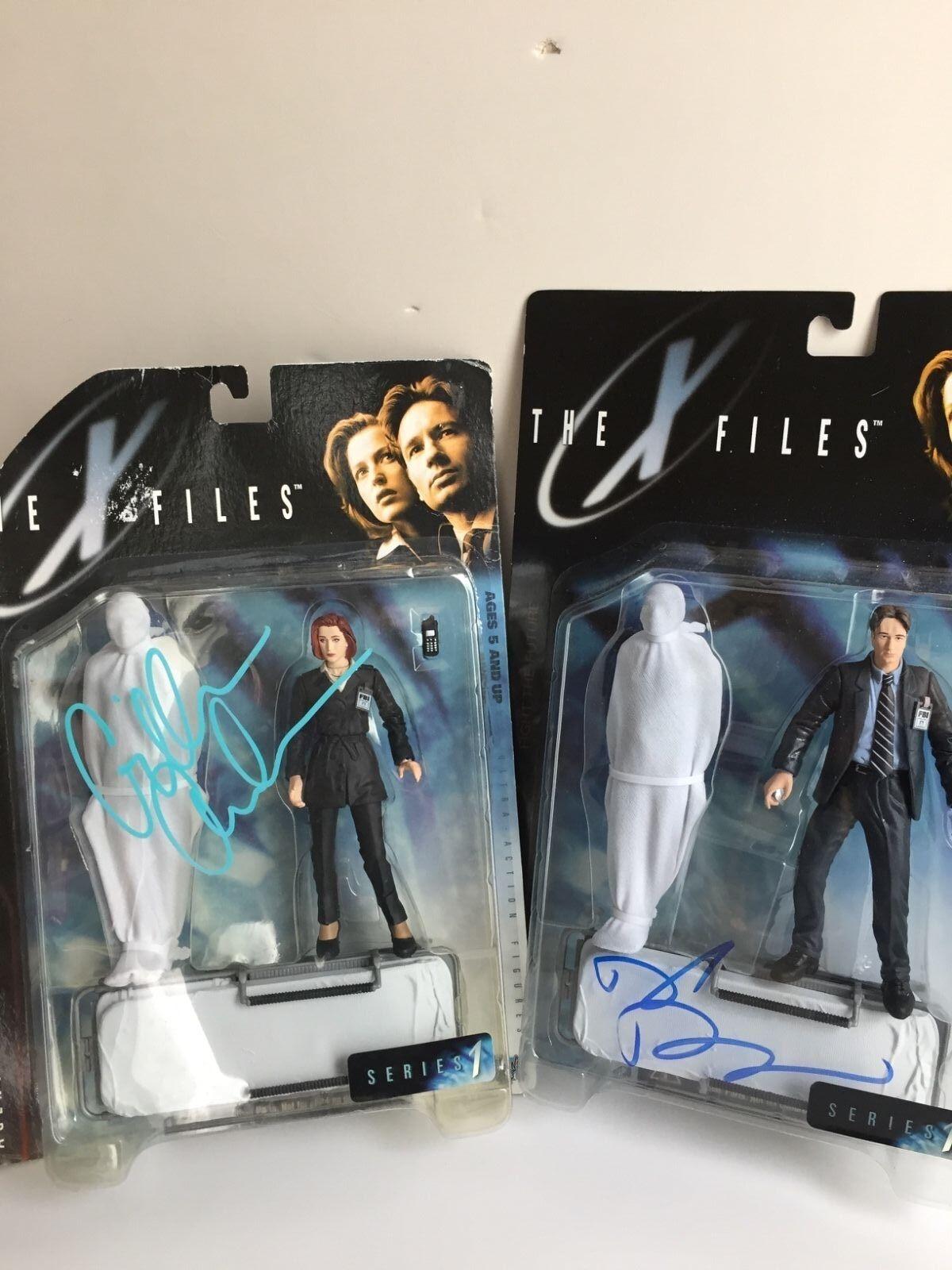 David Duchovny Gillian Anderson signed autograph The X-Files figure COA, Rare