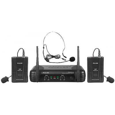 Pulse VHF Dual Lavalier Headset Wireless Microphone System 173.8+175.0MHz | eBay