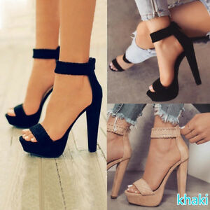 Womens-Ankle-Strap-Platform-High-Heel-Sandals-Knit-Weave-Peep-Toe-Shoes-2-Color