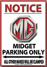 MG MIDGET,NOTICE MG MIDGET PARKING ONLY METAL SIGN.VINTAGE MG CARS ABINGDON.