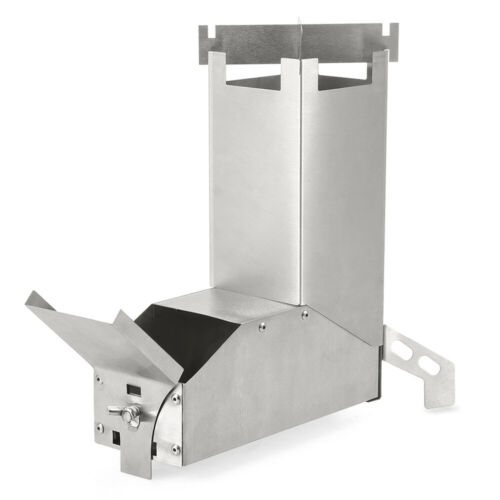 Lixada Stainless Steel Rocket Stove Foldable Outdoor Camping Wood Stove UK Y8B0