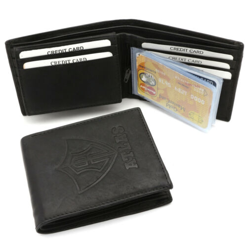 Bifold Black Genuine Leather Wallet with ATLAS Embossed Design with Zip Pocket