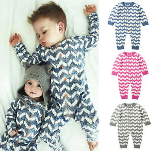 804893def5e Newborn Infant Baby Boy Girls Knitted Winter Romper Jumpsuit Outfit ...