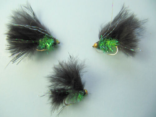 3 X GOLD HEAD BLACK AND LIME FRITZ CATS WHISKER  SIZE 10 MLGH11
