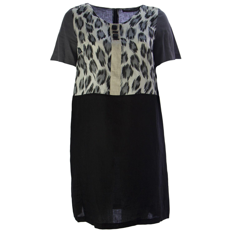Marina Rinaldi Damen Grau Dumas Leopardenmuster A-Linie Kleid Nwt