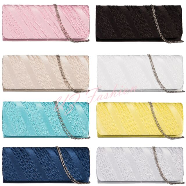 NEW SATIN LADIES PARTY PROM BRIDAL EVENING CLUTCH HAND BAG PURSE HANDBAG