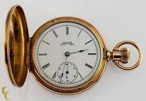 Elgin-Full-Hunter-14k-Yellow-Gold-Pocket-Watch-7-Jewel-Size-6S-Guilloche-Case