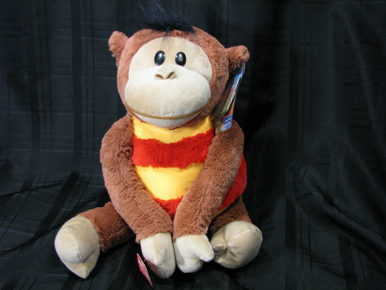 MUSHABELLY CHATTER MONKEY ROUND PLUSH MICROBEAD BROWN 18  NEW WITH TAGS