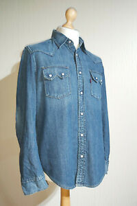 Levi-039-s-Red-Tab-Chambray-Denim-Weiss-Snap-Western-Shirt-Gr-M-blau-Western-Look