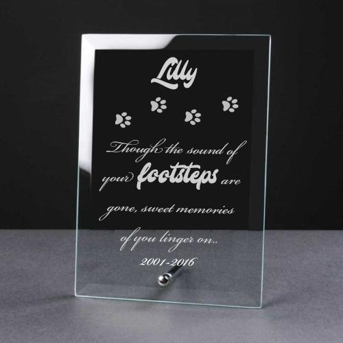 Personalised Engraved Cat Remembrance Glass Plaque CT-1