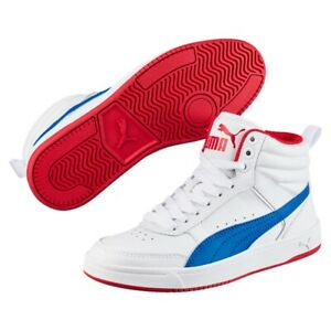 982ec4be05 Details about Puma Rebound Street v2 L Jr mid Shoes Trainers 363913 White  Blue Red Sale