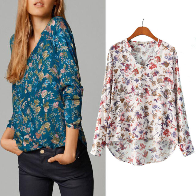 Women Print V-NECK Blouse Long-sleeve Top Shirt Lady Casual Shirt New Excellent