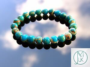 Natural Semiprecious Mookaite Jasper Gemstone Bracelet.