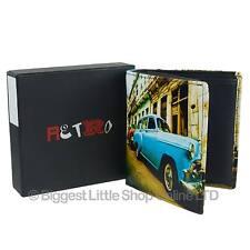 NEW Mens LEATHER Cuban Car Tri-Fold WALLET by Retro GiftBox Classic Cuba Vintage
