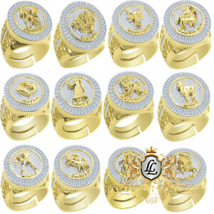Big Real Genuine Yellow Gold Sterling Silver Mens Zodiac Sign Diamond Ring Band