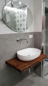 Mensola Legno Bagno.Dettagli Su Mensola Lavabo In Legno Massello Design Per Bagno Su Misura