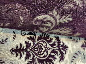 Grenada-Damask-Purple-Silver-Upholstery-Fabric-By-The-Yard