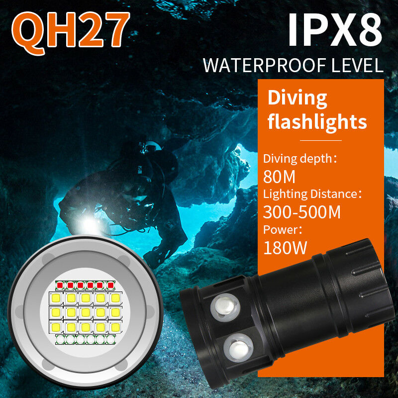 18LED 23LED 14LED LED Weiß Rot Blau Diving Diving Diving XML2 Photography Tauchen Tauchlampe 8c997d