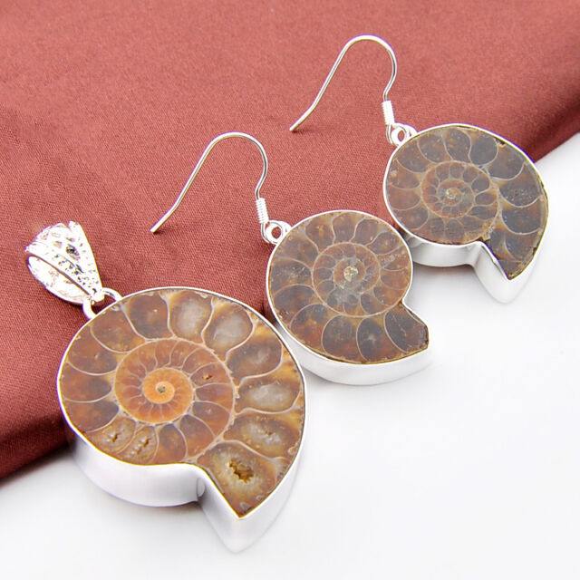 Huge Natural Ammonite Fossil Gems Vintage Sivler Rings Earrings Jewelry Set New