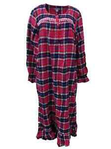 Womens Red Black Plaid Flannel Nightgown Sleep Shirt Night Gown Ebay