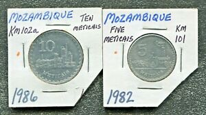 MOZAMBIQUE-2-BEAUTIFUL-HISTORICAL-COINS-1982-5-METICAIS-amp-1986-10-METICAIS