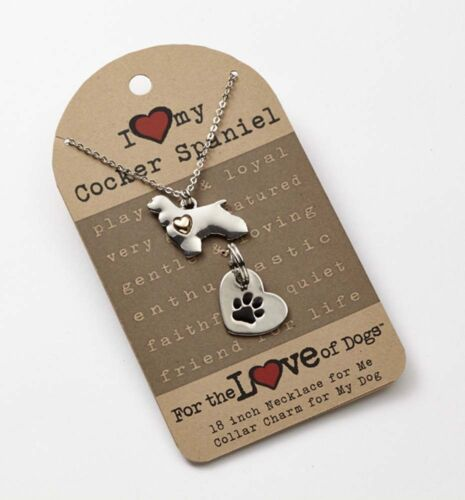 Cocker Spaniel Necklace /& Collar Charm Set 16 Inches
