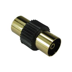 Oro-RF-Coaxial-Acoplador-TV-Cable-Aereo-Carpintero-Adaptador-Hembra-a-F-Negro